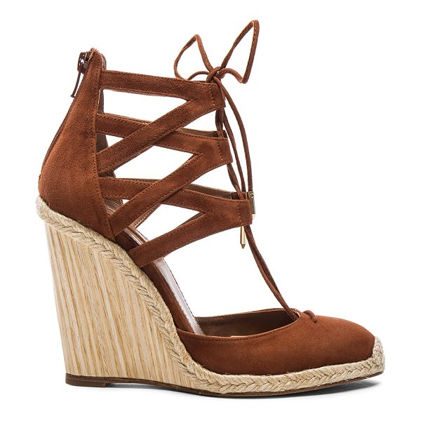 Aquazzura Suede Belgravia Wedges in brown - Suede upper with leather sole.  Made in Spain.  Approx...