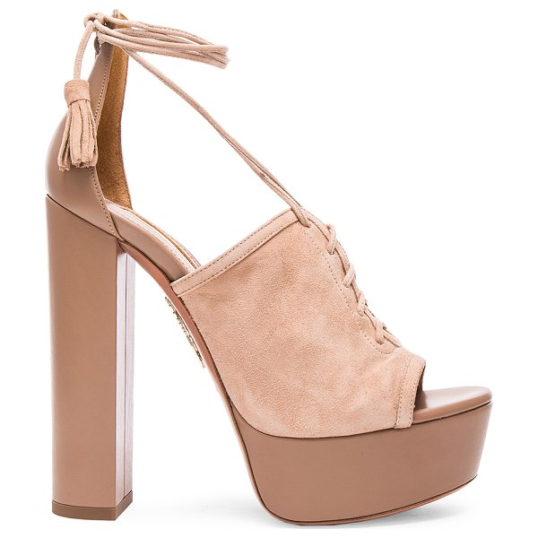 Aquazzura Suede jac platform heels in neutrals - Suede upper with leather sole.  Made in Italy.  Approx...