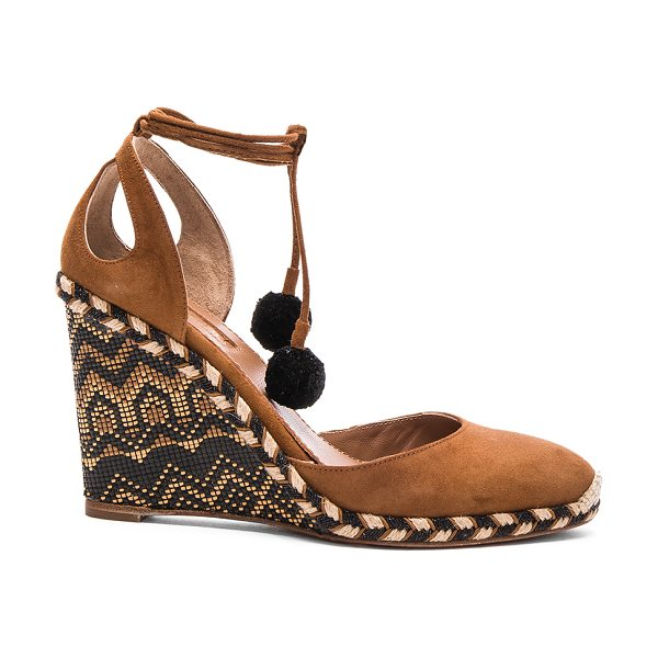 AQUAZZURA Suede Palm Beach Espadrille Wedges - Suede upper with leather sole.  Made in Spain.  Approx...