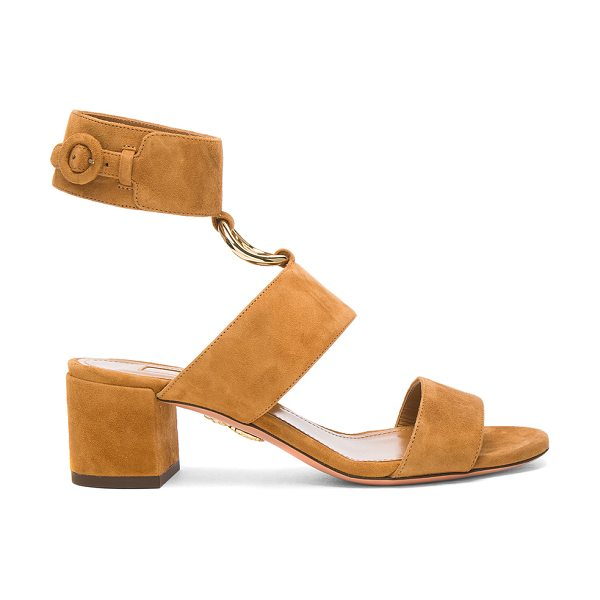 AQUAZZURA Suede Safari Sandals - Suede upper with leather sole. Made in Italy. Approx...