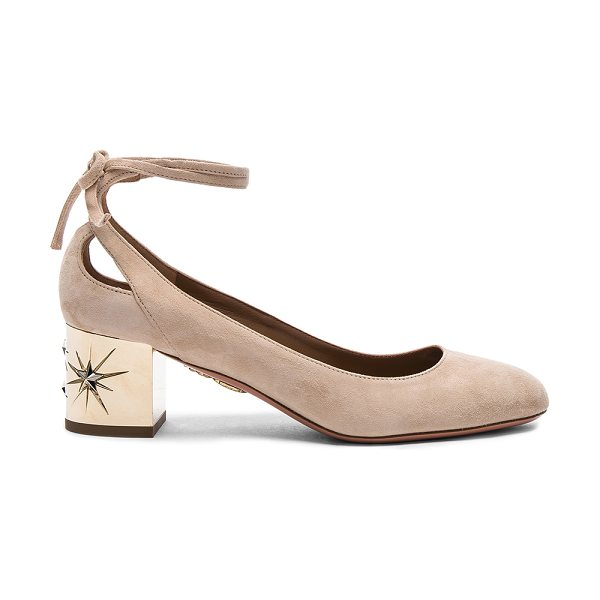 Aquazzura Suede Trinity Star Heels in neutrals - Suede upper with leather sole.  Made in Italy.  Approx...
