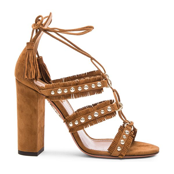 Aquazzura Suede tulum sandals in brown - Suede upper with leather sole.  Made in Italy.  Approx...