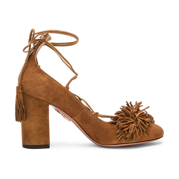 Aquazzura Suede Wild Heels in cognac - Suede upper with leather sole. Made in Italy. Approx...