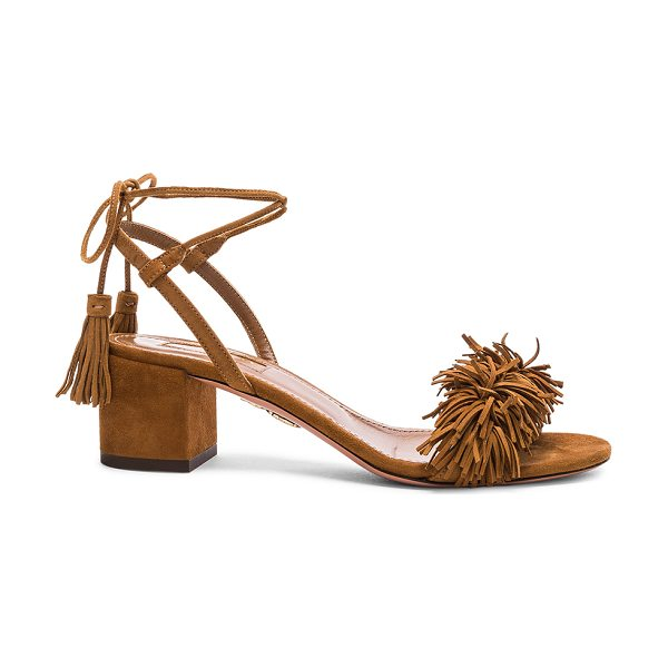 Aquazzura Suede Wild Thing Sandals in brown - Suede upper with leather sole.  Made in Italy.  Approx...