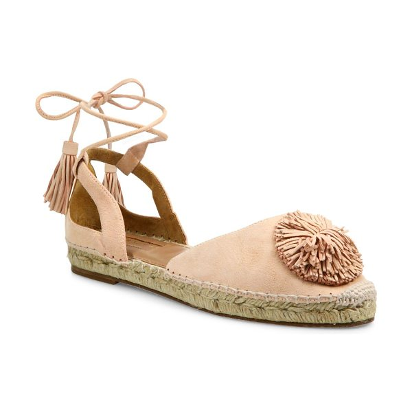 Aquazzura sunshine pom-pom suede espadrille flats in peonypink - EXCLUSIVELY AT SAKS FIFTH AVENUE. Suede espadrille flat...