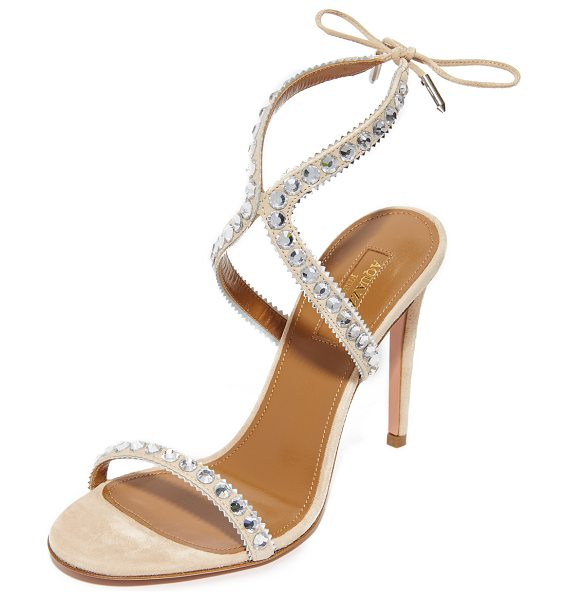 Aquazzura sweet lover 105 sandals in nude/silver - Rhinestones and metallic zigzag trim accent the slender,...