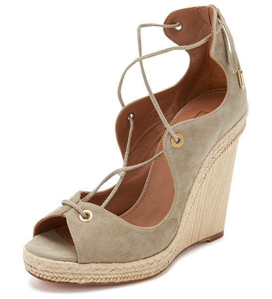AQUAZZURA Tango wedge espadrilles - Metallic coated raffia trims the wooden wedge heel of...