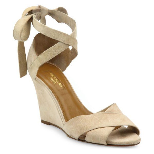 Aquazzura tarzan crisscross suede wedge sandals in nude - Brushed suede straps crisscross atop wedge sandal....