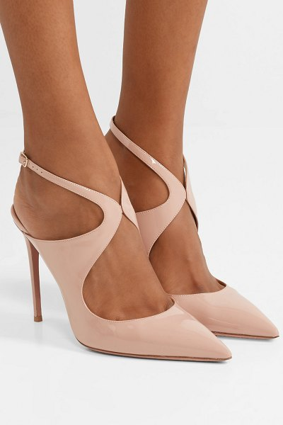 Aquazzura talana 105 cutout patent-leather slingback pumps in blush