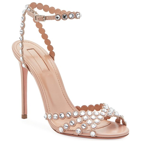 Aquazzura Tequila Embellished High Sandals in pink