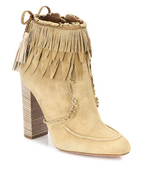 Aquazzura tiger lily fringed suede booties in cappuccino