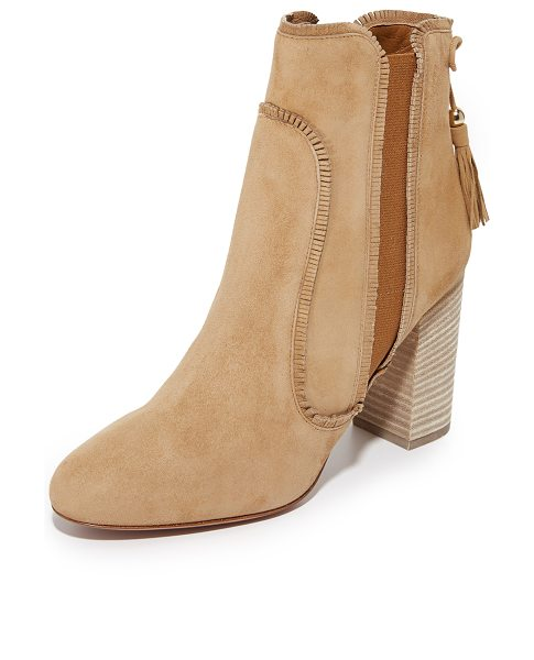 Aquazzura tristan booties in cappuccino - Short fringe and curved seams bring western flair to...