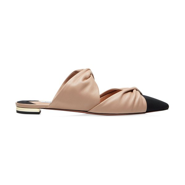 Aquazzura twist flat mules in new nude black