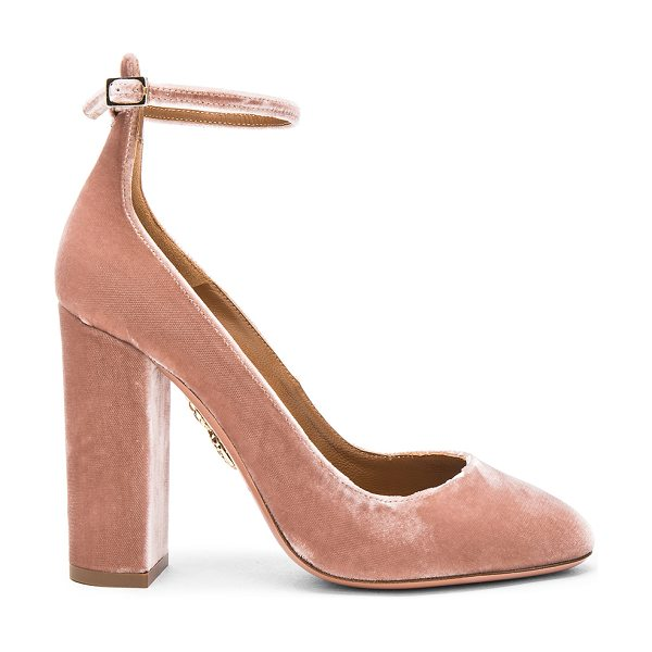 Aquazzura Velvet Alix Pumps in pink - Velvet upper with leather sole.  Made in Italy.  Approx...