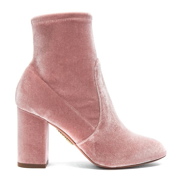 Aquazzura Velvet So Me Booties in pink - Stretch velvet upper with leather sole.  Made in Italy. ...