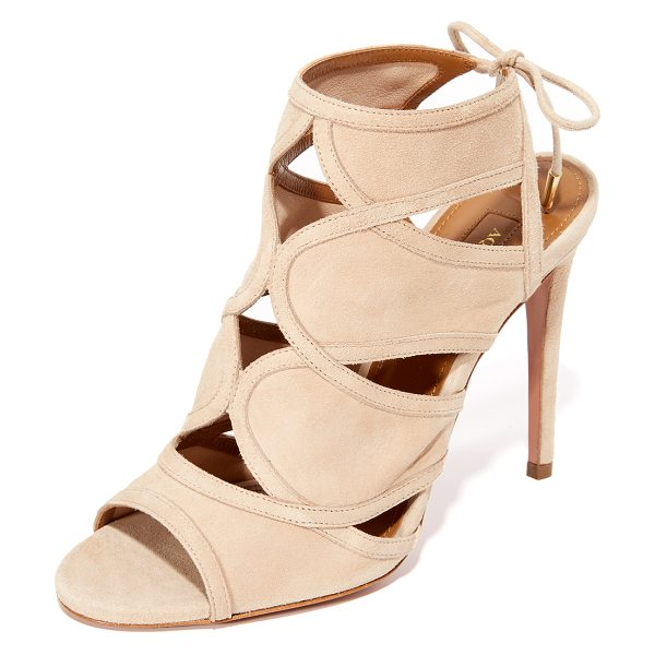 AQUAZZURA vika sandals in nude - Curved seams form small cutouts on these suede Aquazzura...