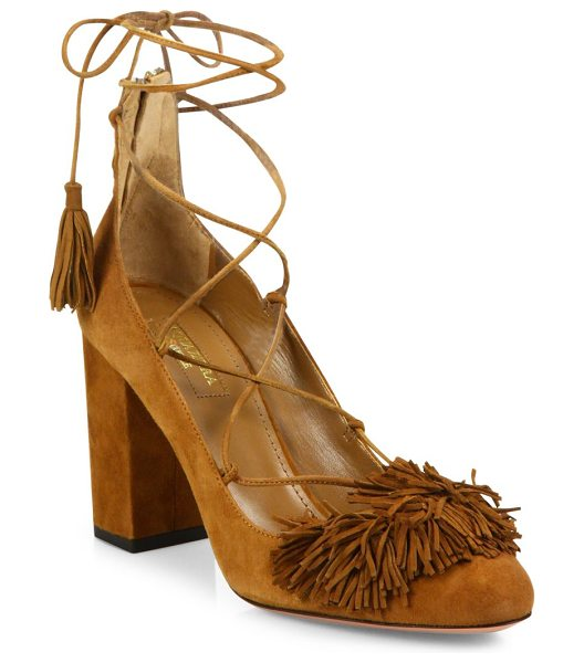 Aquazzura wild fringed suede lace-up block-heel pumps in cognac - Boho-chic suede lace-up sandal with fringed panel....