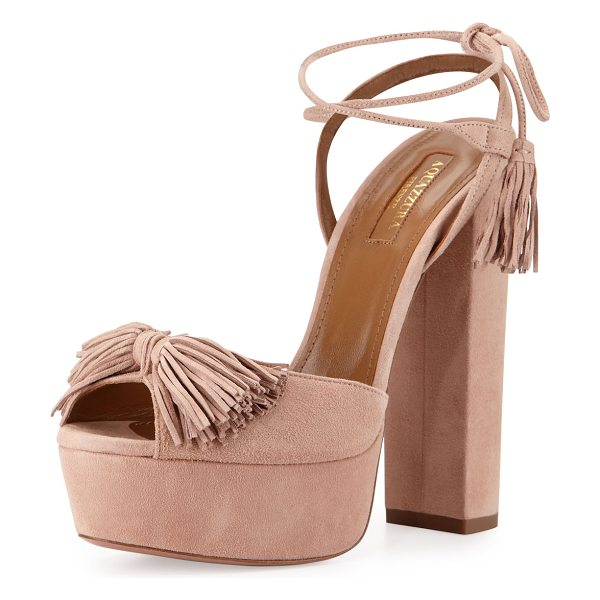 AQUAZZURA Wild One Tassel 140mm Sandal in vintage pink - ONLYATNM Only Here. Only Ours. Exclusively for You....