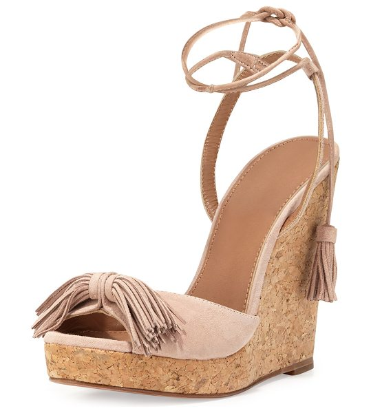 Aquazzura Wild One Tassel Wedge Sandal in vintage pink - ONLYATNM Only Here. Only Ours. Exclusively for You....