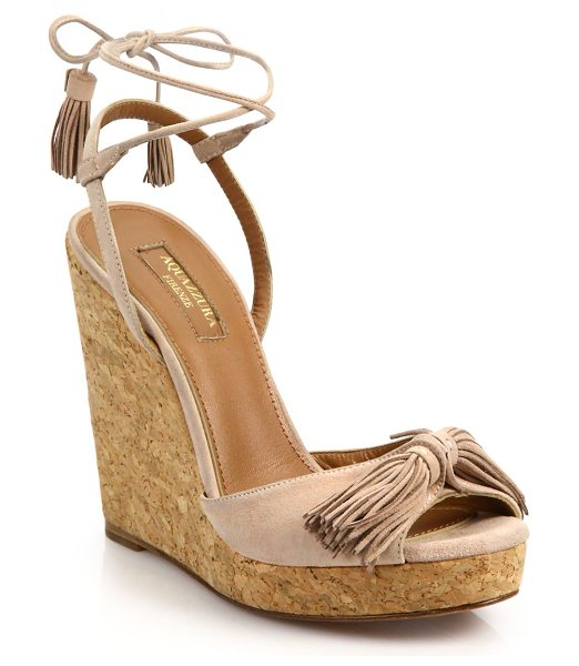 Aquazzura Wild one tasseled suede cork wedge sandals in vintagepink - Cork wedge elevates suede lace-up sandal with tassel...
