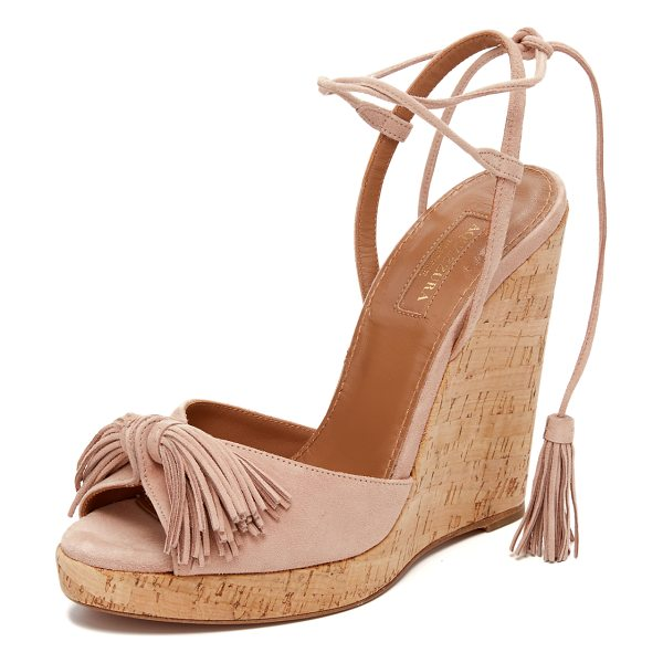 Aquazzura Wild one wedge espadrilles in vintage pink - Suede Aquazzura sandals updated with a tassels at the...