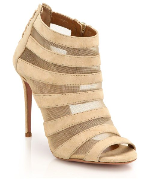 Aquazzura Wild side suede & mesh striped cage sandals in nude - Subtly sexy lace-up detail at the back emboldens an...