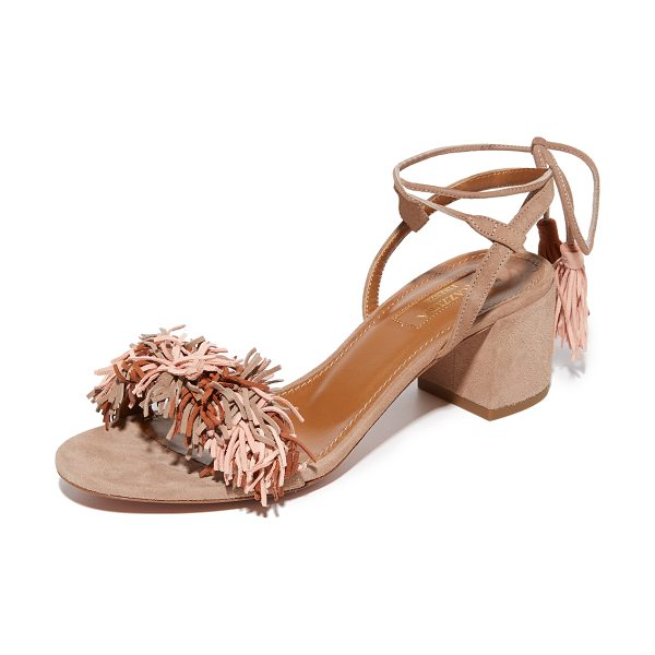 Aquazzura wild thing city sandals in multi terracotta - Luxe suede Aquazzura sandals styled with slim straps and...
