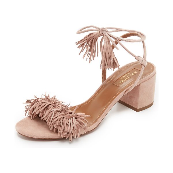 Aquazzura Wild thing city sandals in vintage pink - Suede Aquazzura sandals updated with a bold fringed...