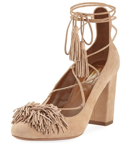 "Aquazzura Wild Thing Fringe Block-Heel Pump in biscotto - Aquazzura suede pump. 3.3"" covered block heel. Almond..."