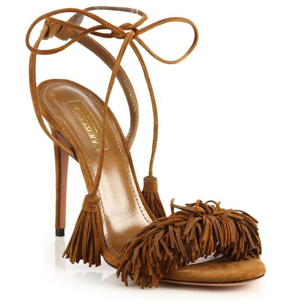 Aquazzura wild thing fringe suede sandals in cognac - Alluring fringed suede sandal with tassel ankle ties....
