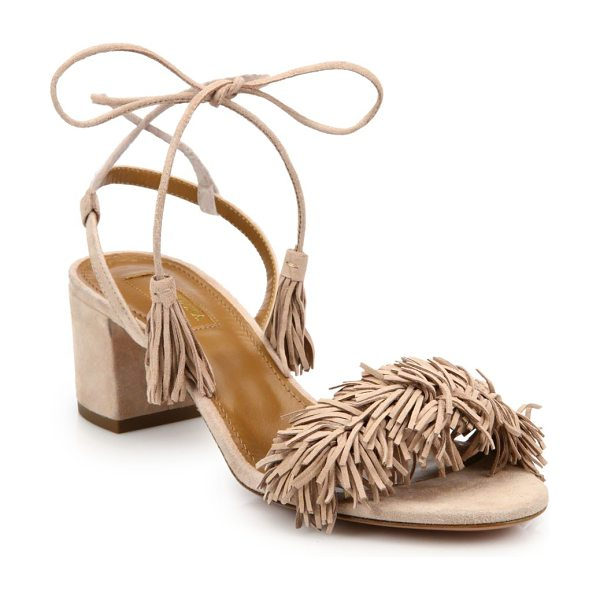 Aquazzura wild thing fringed suede sandals in vintagepink