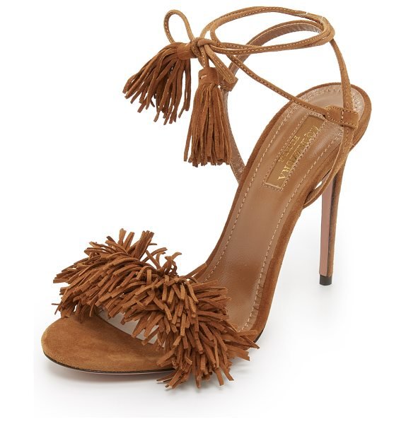 Aquazzura wild thing sandals in cognac