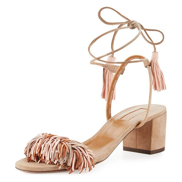 "Aquazzura Wild Thing Suede 50mm Sandal in pink - Aquazzura suede sandal. Available in multiple colors. 2""..."