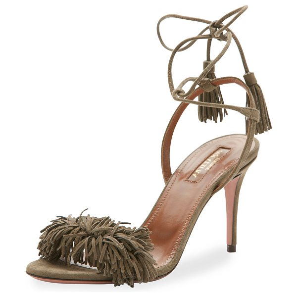 Aquazzura Wild Thing Suede 85mm Sandal in truffle - Aquazzura suede sandal. Available in multiple colors....