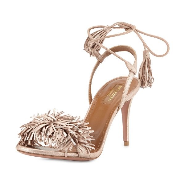 Aquazzura Wild Thing Suede 85mm Sandal in rose gold - ONLYATNM Only Here. Only Ours. Exclusively for You....