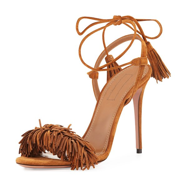 "Aquazzura Wild Thing Suede 105mm Sandal in cappuccino - Aquazzura suede sandal. 4.1"" covered heel. Fringe strap..."