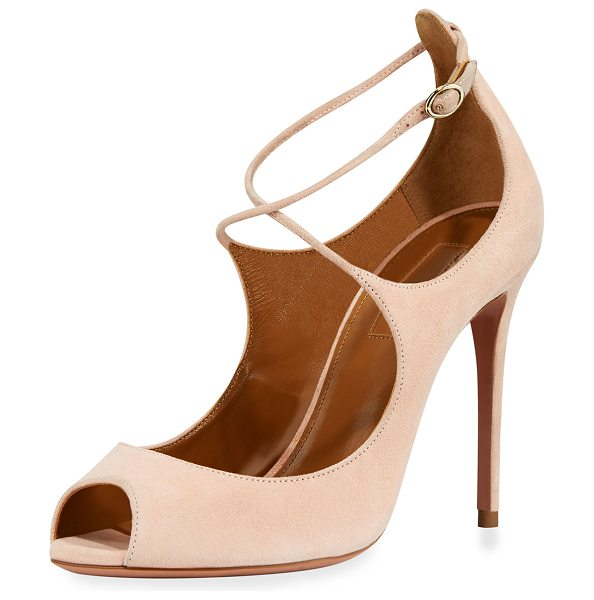 "Aquazzura Zani Suede 105mm Pump in peony pink - Aquazzura suede pump 4.1"" covered heel. Peep toe...."