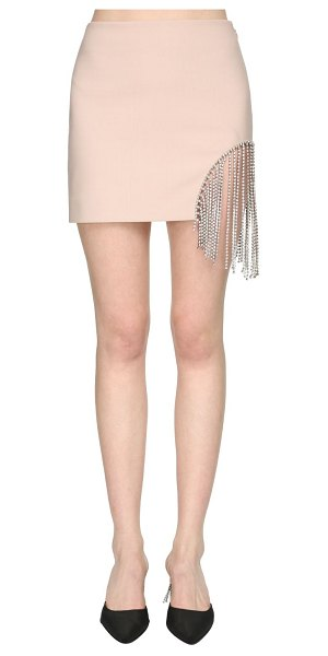 Area Bonded wool mini skirt w/ crystal fringe in pink
