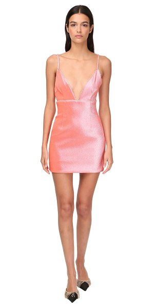 Area Stretch lamé mini dress w/ crystals in coral