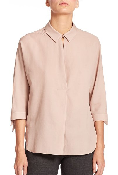 Armani Collezioni Twill tie-detail blouse in pink - A crossover placket and feminine ribbon ties update this...