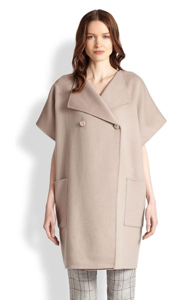 Armani Collezioni Wool/cashmere double-breasted kimono coat in almond - Rich wool and luxurious cashmere combine for an...