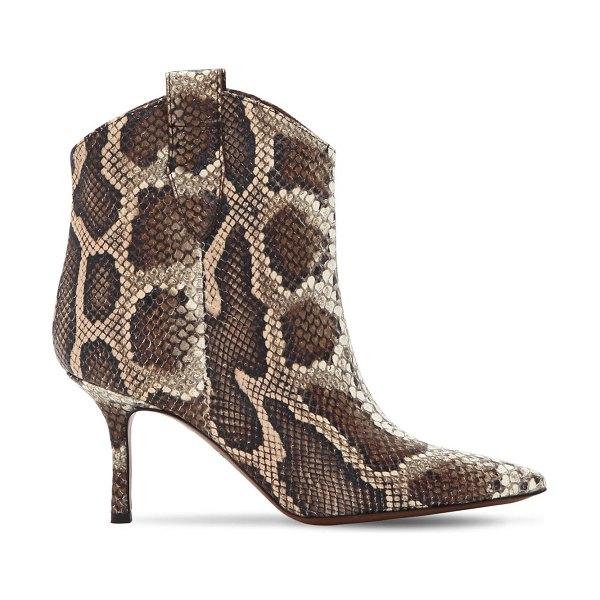 AROUND THE BRAND 70mm python print leather boots in brown/beige - 70mm Heel. Side pull loops. Python printed leather upper...