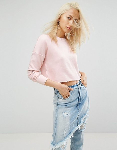 """ARRIVE Cropped Raw Edge Sweat with Rip Detailing in pink - """"""""Sweatshirt by Arrive, Loop-back sweat fabric, Crew..."""