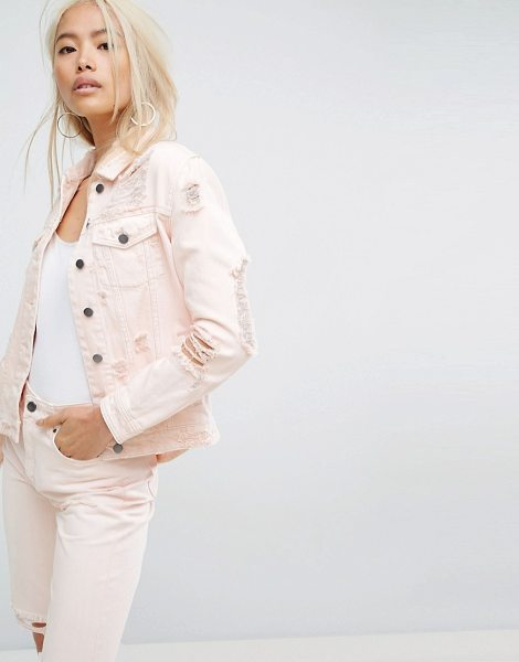 "ARRIVE Destructed Denim Jacket - """"Denim jacket by Arrive, Non-stretch denim, Light pink..."