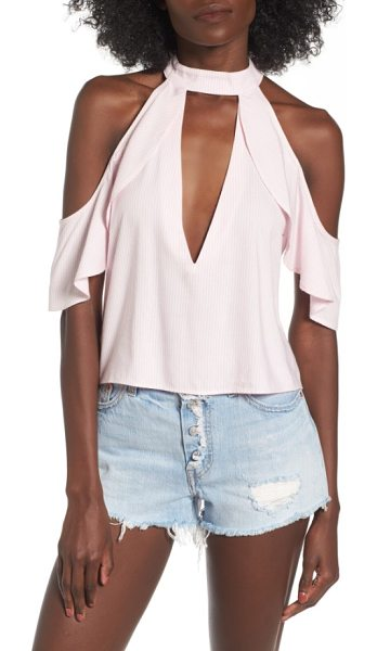 AFRM eden cold shoulder halter top in pink stripe - The plunging neckline and cutouts add definite interest...
