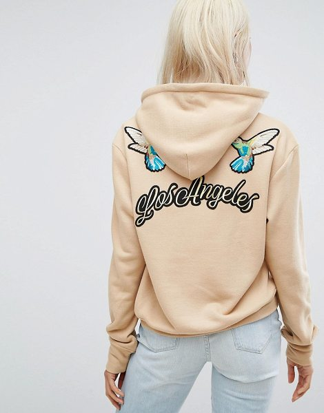 """ARRIVE Hoodie with Embroidered back Detail in beige - """"""""Hoodie by Arrive, Soft-touch sweat, Drawstring hood,..."""