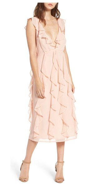 ARRIVE ingrid ruffle chiffon midi dress in cameo rose - When it comes to ruffles, the more the...