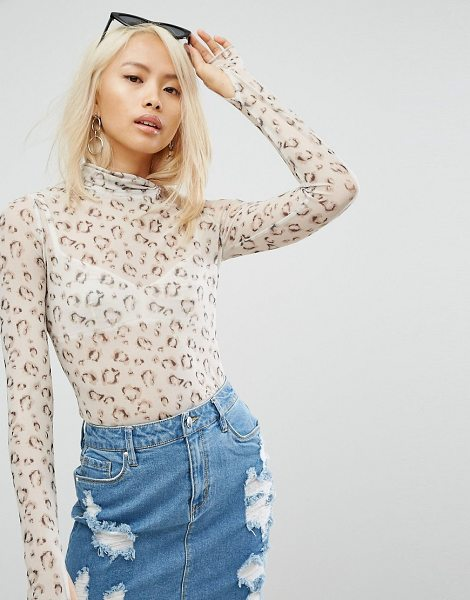 """ARRIVE Lynx Mesh High Neck Top in cream - """"""""Top by Arrive, Sheer stretch mesh, Animal print, High..."""