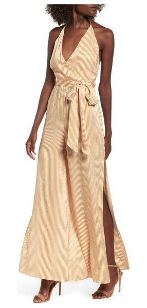 AFRM peyton wide leg halter jumpsuit in nude stripe - Turn up the drama in this sultry jumpsuit with...