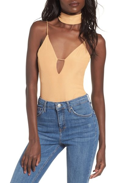 AFRM poppy thong bodysuit with choker - Take the plunge in a skin-baring thong bodysuit that...